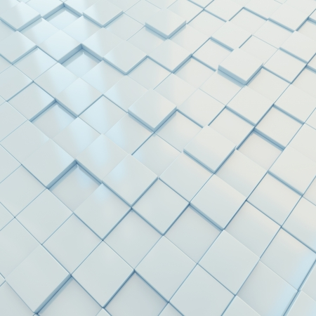 3d-rendering of light blue glossy cubes of different height Stock Photo