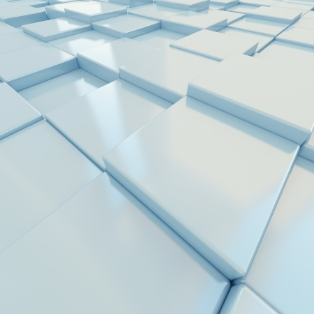White cubes close-up wide angle. 3d-rendering Stock Photo