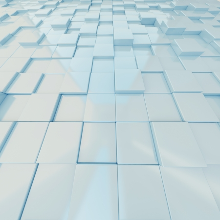 3d background. Light blue cubes in perspective Stock Photo - 14748266