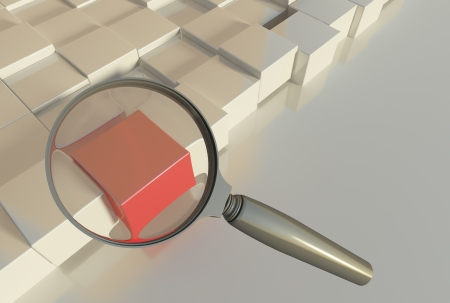 chosen one: Search for special item - bright red cube among white cubes under the examination. 3d render, horizontal format