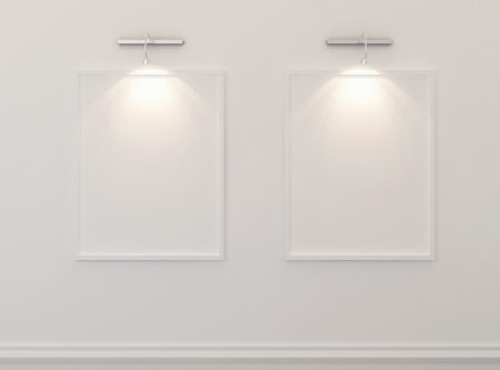 White blank picture frames over white wall Stock Photo - 14748267