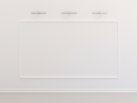 Big blank picture frame on white Stock Photo