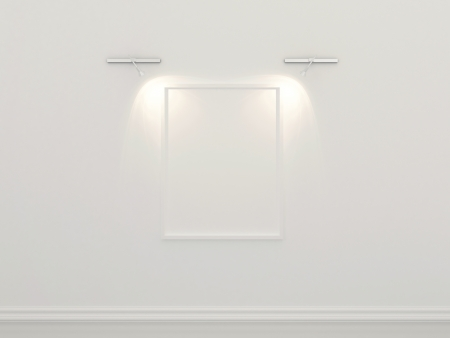 3d-illustration of white picture frame on the wall with gallery lighting illustration