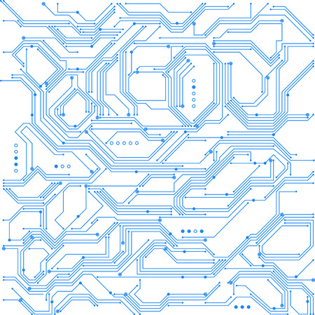 Circuit board background vector illustration in blue and white