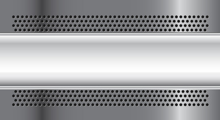 titanium: Metallic banner on horizontal grey textured background Illustration