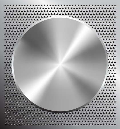 carbon steel: Metallic disc on perforated grey technology background