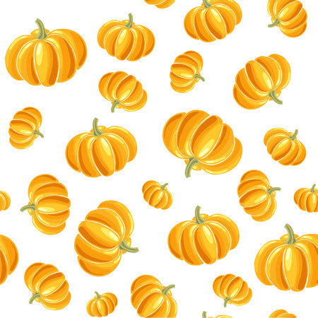 Seamless vector pattern of colourful doodle pumpkins