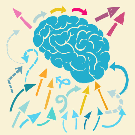 imagine a science: Cartoon brain with arrows flowing in and out