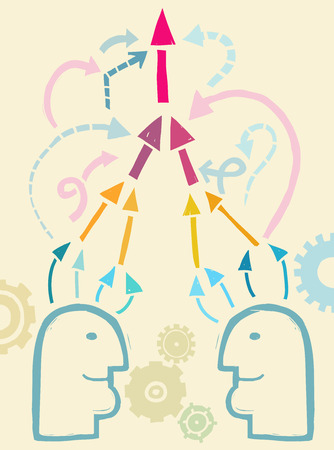 two minds: Two people developing ideas together, communication concept