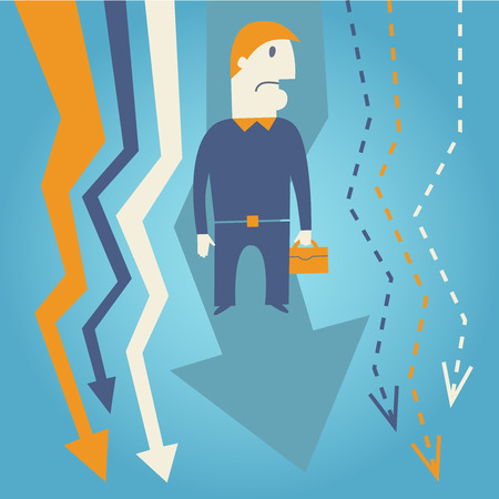 hard work ahead: Vector concept of businessman living hard times Illustration