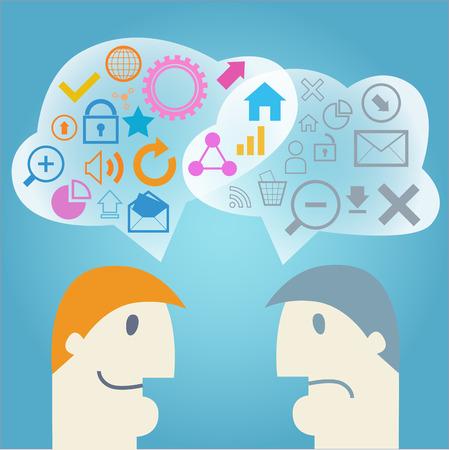 positief: Menselijke hoofden met positieve en negatieve gedachten