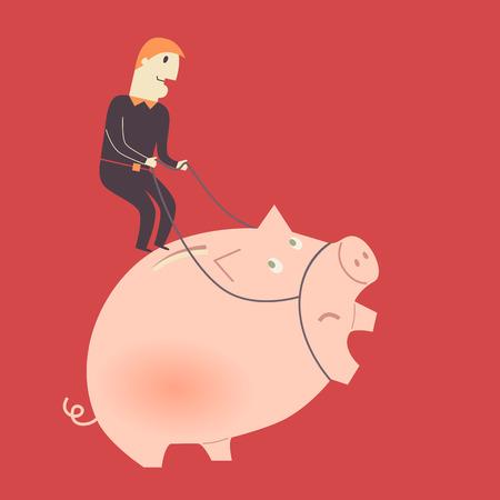 Vector concept of a businessman riding a piggy bank Vector