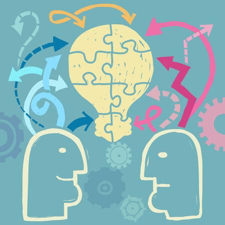 Twee mensen het ontwikkelen van ideeën samen, communicatieconcept Stock Illustratie
