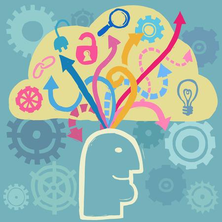 mente: Cerebro de dibujos animados con flechas que entra y sale, ilustración vectorial Vectores