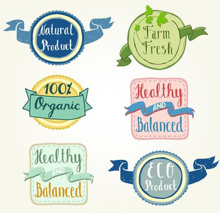 productos naturales: Los productos org�nicos y naturales etiquetas dibujadas a mano