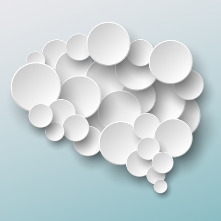 Brain made of paper circles over blue gradient background Vector