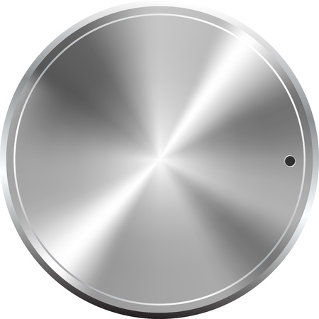 Grey shiny metallic round tuner button, vector Illustration