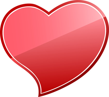 shiny heart: Red shiny heart sign on white background Illustration