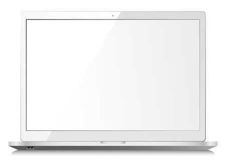 laptop screen: White shiny laptop on white background with empty screen Illustration
