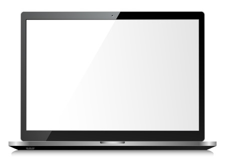 laptop screen: Black shiny laptop on white background with empty screen Illustration