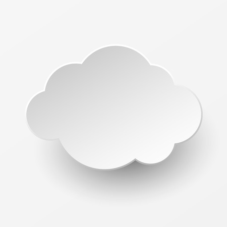 simple store: White paper cut cloud with shadow on a white background