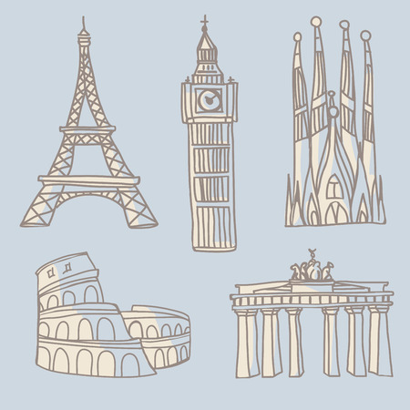 Doodle drawings of famous architectural landmarks. Eiffel Tower, Big Ben, Sagrada Familia, Colosseum, Brandenburg Gates Vectores