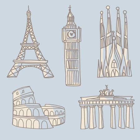 Doodle tekeningen van de beroemde architectonische monumenten. Eiffeltoren, de Big Ben, de Sagrada Familia, het Colosseum, Brandenburg Gates Stock Illustratie