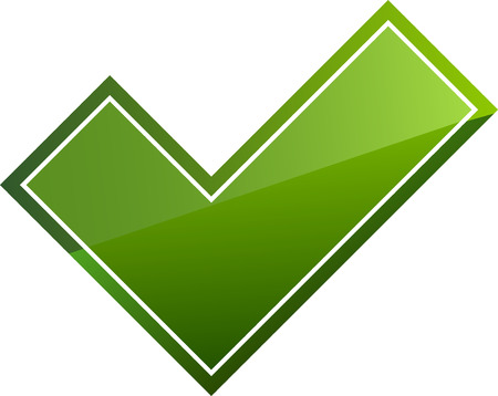 Green shiny tick sign on white background