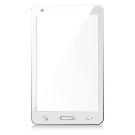 display size: Vector illustration of new white smartphone with empty screen