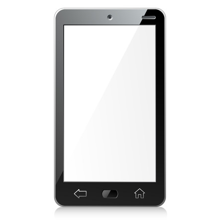 display size: Vector illustration of new black smartphone with empty screen