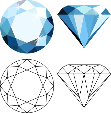 Decorative abstract blue diamonds isolated on white. Flat style icon Illustration