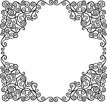 scroll border: Black graphic scroll decorative border, vector illustration