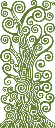 branch to grow up: Abstract decorative green scroll tree, vector illustration