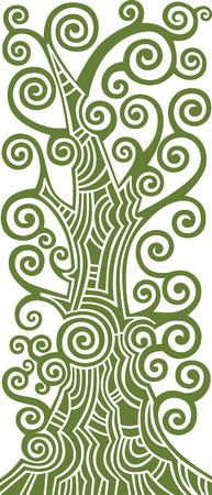 branch to grow up: �rbol decorativo de desplazamiento, ilustraci�n vectorial verde abstracto Vectores
