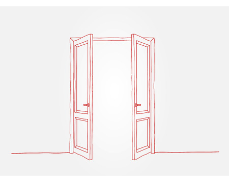 doorframe: Two red doors opening to the light Illustration