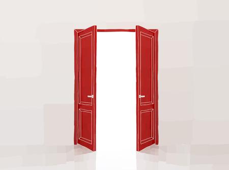doorframe: Dos puertas rojas que se abren a la luz