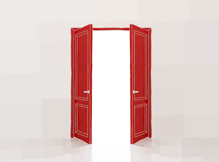 door: Two red doors opening to the light Illustration