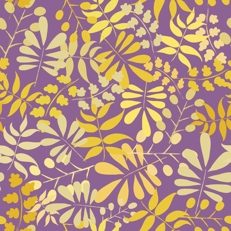 yellow leaves: Seamless pattern with yellow leaves on dark background