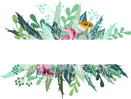 Vector botanical doodle banner on white background