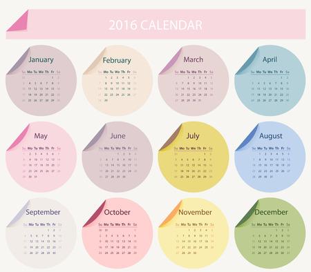agenda: Simple 2016 year circle calendar in bright colors