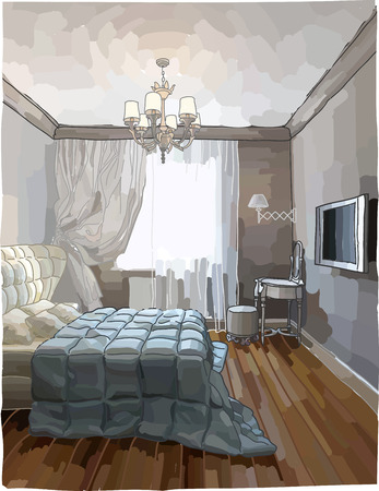 침실 인테리어의 컬러 일러스트 레이 션, 현대적인 스타일