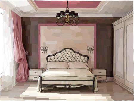 Color illustration of bedroom interior, modern style Illustration