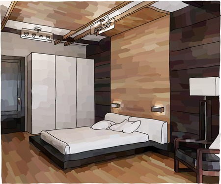 wall sconce: Color illustration of bedroom interior, modern style Illustration