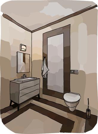 bathroom interior: Color drawing of bathroom interior, modern style