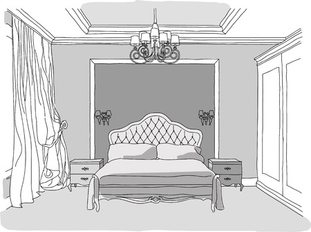 wall sconce: Black and white illustration of bedroom interior, modern style Illustration