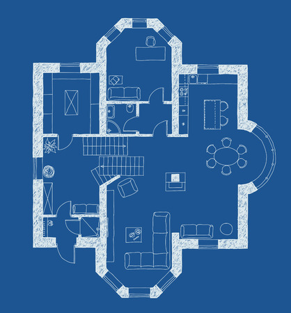 Architectural drawing, apartment plan with furniture in blue Illustration