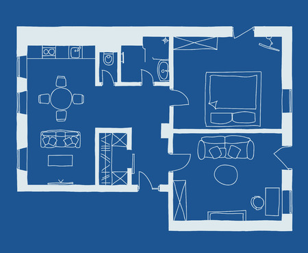 architectural drawing: Architectural drawing, apartment plan with furniture in blue Illustration