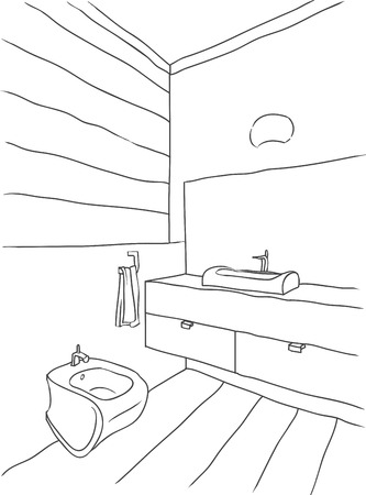 sconce: Dibujo del contorno del cuarto de ba�o interior, estilo moderno Vectores