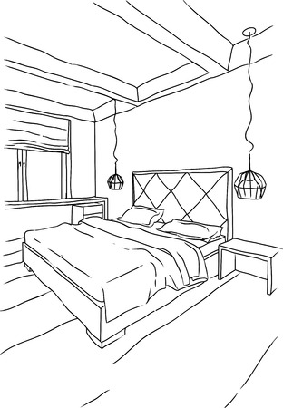 Sketchy illustration of bedroom interior in grey and brown tones, modern style