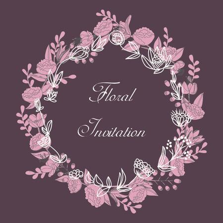 Postkaart uitnodiging sjabloon met botanische krans en belettering Stock Illustratie